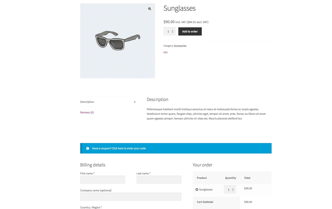 one-page checkout on a sunglasses product page