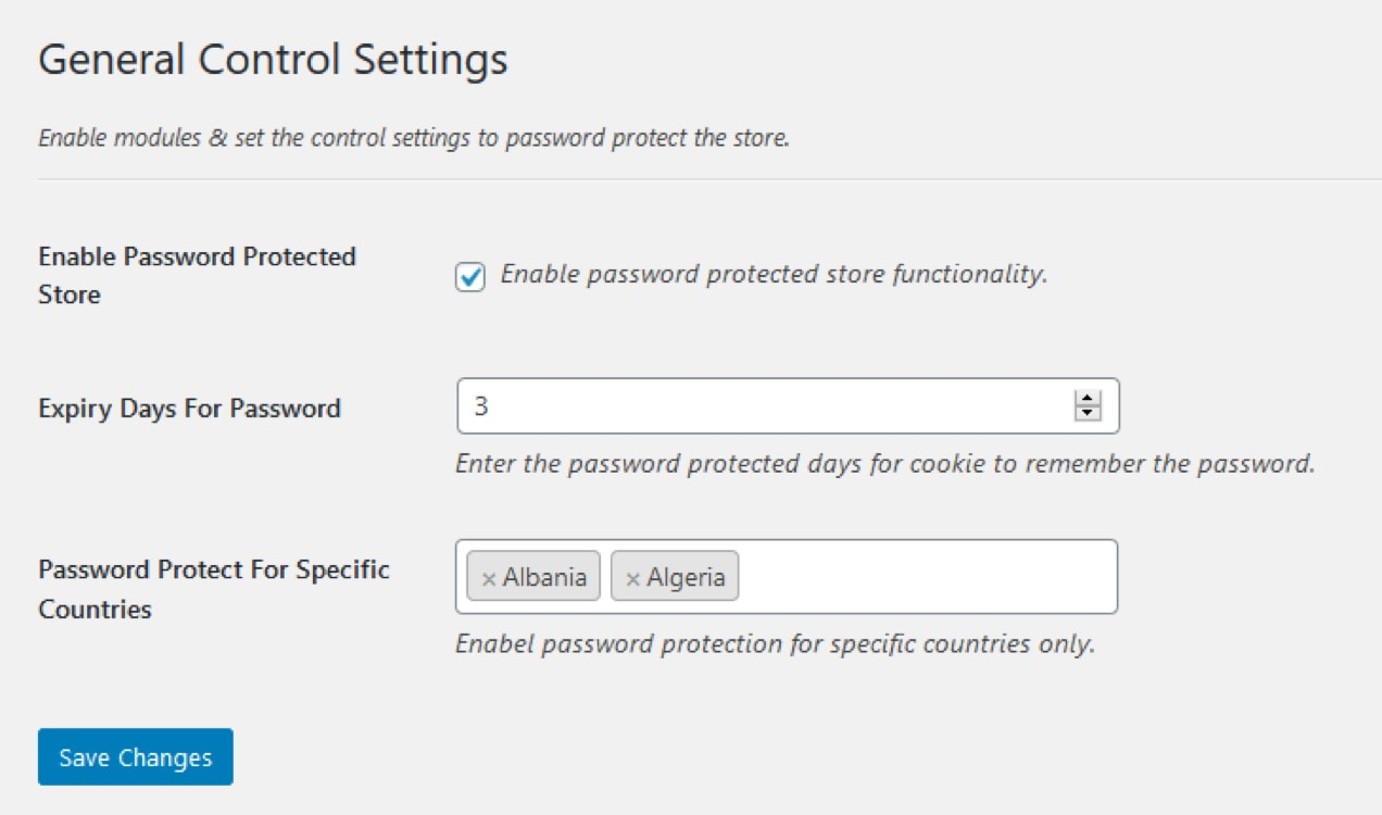 settings in the Password Protected Categories extension